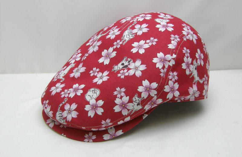 猫ちゃん柄ハンチング帽子